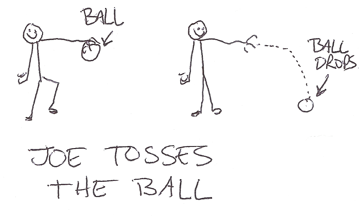 Joe tosses his ball to the side