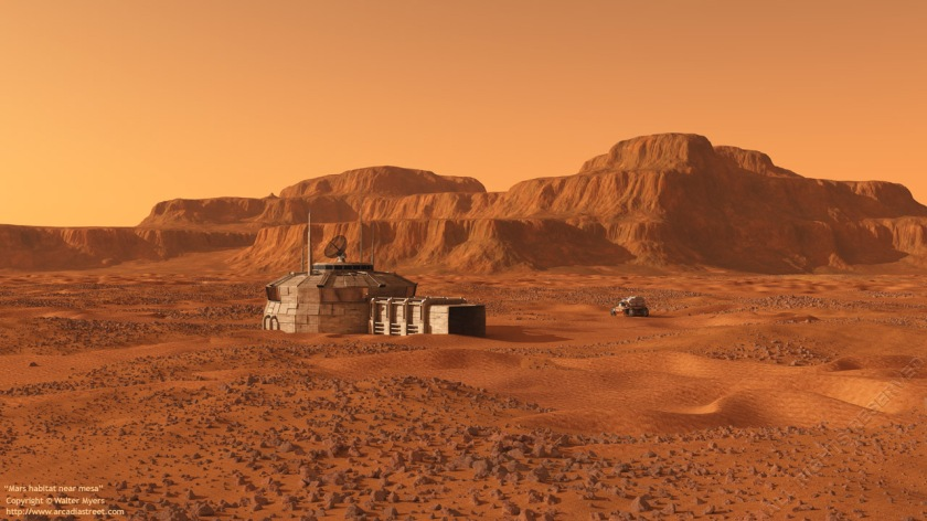 Mars outpost near mesa