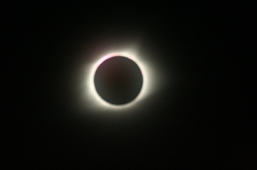 The total solar eclipse with inexplicable pint tint in upper left. I have more like this.